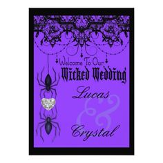 Wicked Victorian Spider Purple Halloween Wedding Card