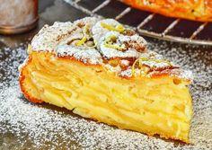 Suroviny: jablka (tvrdá, nejlépe nějaký kyselý druh), oloupaná a bez jadřinců 1 kg mouka 150 g kypřicí prášek 1 čajová lžička špetka soli větší výběrová vejce 3 ks hnědý cukr (může být i bílý) 120 g mléko 100 g citrón 1 ks Suroviny na kůrku: hnědý cukr (bílý) 20 g máslo 15 g Postup přípravy … Baking Recipes, Cake Recipes, Dessert Recipes, Apple Desserts, Just Desserts, Sweet Pastries, Russian Recipes, Muesli, Saveur