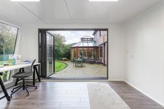 For the perfect office setting, what is better than one of our garden rooms? The team created this stunning garden office to the clients' exact preferences. Garden Office, Workshop, Windows, Patio, Gallery, Outdoor Decor, Green, Room, Home Decor