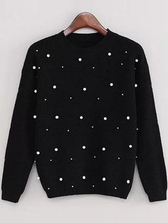 Product name: Black Drop Shoulder Beaded Sweater at SHEIN, Category: Sweaters SHEIN offers & more to fit your fashionable needs. Diy Fashion, Fashion Outfits, Casual Outfits, Cute Outfits, Mode Chic, Embroidered Clothes, Diy Shirt, Diy Clothing, Mode Inspiration