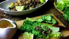 Healthy Recipes (Lettuce Wraps) : Thai Style Beef Lettuce Wraps Recipe: Asian at Home - Seonkyoung Longest Beef Lettuce Wraps, Lettuce Wrap Recipes, Veggie Recipes, Beef Recipes, Healthy Recipes, Crispy Beef, Fried Beef, Veggie Fries, Veggie Stir Fry