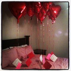 This is such a sweet idea: I pinned this idea already, but these are the actual balloons and notes I gave my husband for Valentine's Day 2012. There's a note for each year we've been valentines. It meant a lot to him - he cried. Yep. Callin' him out on Pinterest, he cried. So easy, inexpensive AND meaningful.