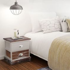 Home Bedside Cabinet Table Bedroom Nightstand Wood Furniture 2 Pcs Brown White Shelf Furniture, Living Furniture, Table Furniture, Home Furniture, Bedroom Furniture, Kids Bedside Table, Wooden Bedside Table, Country Style Homes, French Country House