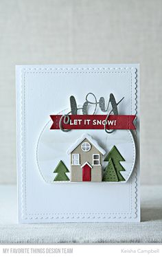 Snow Globe Sentiments, Joy Die-namics, Scenic Snow Globe Die-namics, Winter Trees Die-namics, Drifts & Hills Stencil — Keisha Campbell #mftstamps