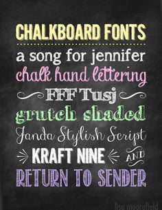 Free Chalkboard Fonts & Dingbats – Photoshop NOT required! Fancy Fonts, Cool Fonts, Chalkboard Fonts, Chalkboard Ideas, Chalkboard Writing, Chalkboard Designs, Inspiration Typographie, Typography Fonts, Font Art