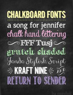 Free Chalkboard Fonts, Backgrounds Dingbats ~~ w/ links - 7 fonts, 1 dingbat a…
