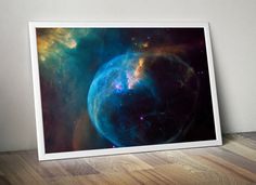 Hubble Blue Gas Nebula Stars Galaxy Art  by DareToDreamPrints