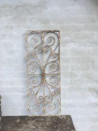 Smeedijzeren Paneel Hek Rek Ornament Wandpaneel Oud Wit Old White Whitewash Raamdecoratie Landelijk Brocant Wanddecora Smeedijzeren Wandpanelen Raamdecoratie