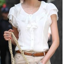 Cheap chiffon blouse, Buy Quality blouse fashion directly from China blouses plus Suppliers: Plus Size New Summer Women Blusas Fashion Short Sleeve Ruffles Chiffon Blouse Solid White Tops Blusas Casual Summer Blouses Cheap Blouses, Shirt Blouses, Blouses For Women, Blouses 2017, Ladies Blouses, Ladies Tops, Chiffon Shirt, Chiffon Tops, Chiffon Blouses