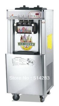 Stainless Steel Soft-serve Ice Cream Machine three flavors with high efficiency freezing system