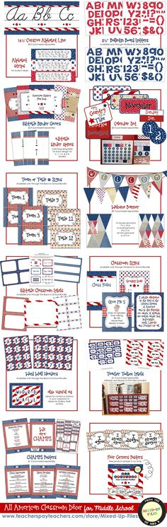 Go back to school in style with this patriotic All American classroom decor set! My classroom decor sets are designed specifically with secondary (middle or high school) teachers in mind. I know you want your room to be welcoming, attractive, and coordinated without looking too young.