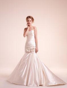 mermaid gown, sweetheart neckline, dropped waist- Alita Graham design