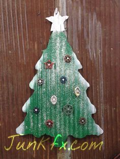 Recycled barn roofing tin christmas tree very large Free by Junkfx, $100.00