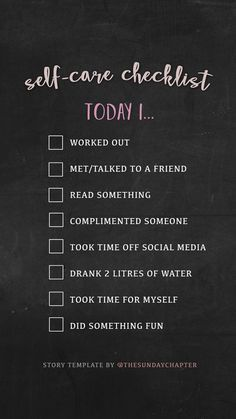 Great self care list to follow!