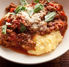 Italian-Style Beef Ragu with Cheesy Polenta Recipe Loading. Italian-Style Beef Ragu with Cheesy Polenta Recipe Polenta Recipes, Beef Recipes, Cooking Recipes, Healthy Recipes, Ravioli Sauce, Ramen Recipes, Carrot Recipes, Noodle Recipes, Risotto