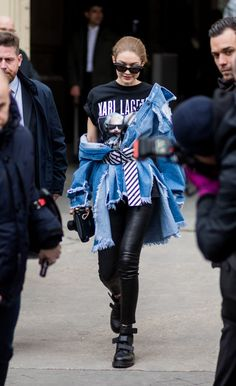 Gigi Hadid was effortlessly cool in a Karl Lagerfeld tee, leather pants, and jean jacket while out inParis.