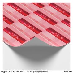 Hippie Chic Sixties Red Love Pattern Design Wrapping Paper Hippie Bohemian, Hippie Chic, Hippie Lifestyle, Decoupage Vintage, Engraved Gifts, Valentines Day Party, Custom Wrapping Paper, Retro Chic, Pink Love