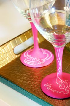 {Pink} chalkboard paint on glasses- a fun way to tag your drink!