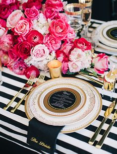 table setting: this would be adorable for a Chanel or Paris birthday, tea party, bridal shower...even baby shower!