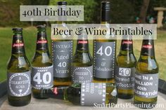 40th Birthday Beer & Wine Printable Labels. Perfect for use at parties or as a great gift.