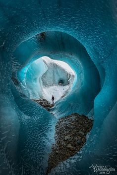 Ice cave on the Torre Glacier in Los Glaciers National Park Argentina.