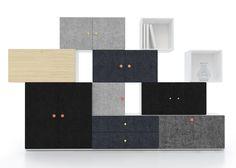Tetris cuenta con dos módulos de diferentes tamaños, uno cuadrado y otro rectangular,y así como pueden ser montados en una pared, también se pueden poner unos sobre otros, en la forma y cantidad deseada.