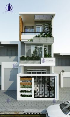Bungalow House Design, House Front Design, Small House Design, Modern House Design, Social Housing Architecture, Modern Architecture House, Architecture Design, Narrow House Designs, Independent House