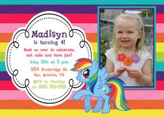 Custom, Personalized My Little Pony Rainbow Rainbow Stripe Birthday Invitation (Rainbow Dash, Pinkie Pie, or any pony!)
