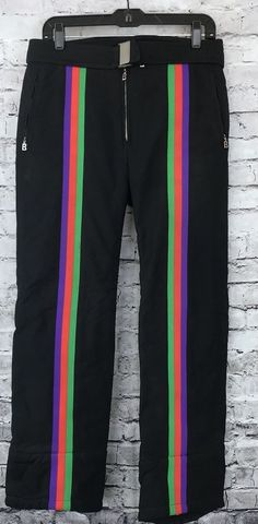 e52f1c74b4bf2d Bogner Vintage Ski Bunny Rainbow Retro 80 s Stretch Black Purple Neon Ski  Pants