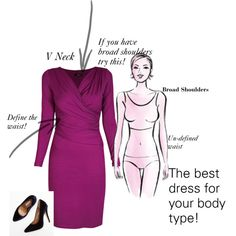 """""""The best dress for your body type!"""" Try this if your are a woman with broad shoulders! by angela-yourpersonality on Polyvore"""