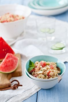 Quinoa, watermelon & feta salad sounds super easy and delish. I'd replace the feta for goat cheese though