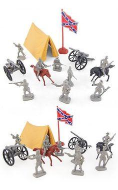Civil War Rebel Camp Playset Figures | Military & Plastic Playsets | TinToyArcade |719875224533