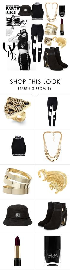"""4MINUTE Crazy MV Outfit ""Black-White"""" by catezovi ❤ liked on Polyvore featuring Thalia Sodi, NLY Accessories, Miss Selfridge, Supply & Demand, Lancôme and Nails Inc."