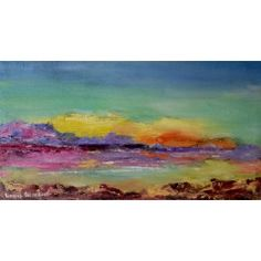 Sea Sunset (oil on stretched canvas: 470mm x 250mm x 20mm)