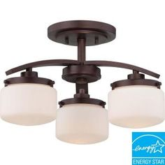 Glomar Austin 3-Light Russet Bronze Semi Flush Mount with Etched Opal Glass Shade-HD-5128 at The Home Depot