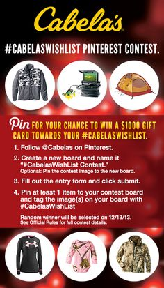 Pin for your chance to win in the Cabela's Christmas Wishlist Contest! #CabelasWishList