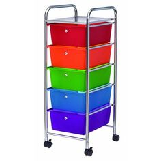 Studio A 5 Drawer Rolling Cart Rainbow: Shopko.... for weekly clothes