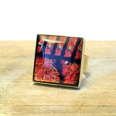 Christmas Ring - Gift for Women - Square Bezel Ring - Mixed Metal Ring - Gold and Black Ring - Brass Ring - Abstract Ring - Sku JDR-202