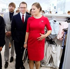 A pregnant Crown Princess Victoria of Sweden with Prince Daniel