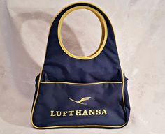 VINTAGE AUTHENTIC LUFTHANSA AIRLINES BLUE WOMEN'S TOTE BAG #LUFTHANSA #TotesShoppers