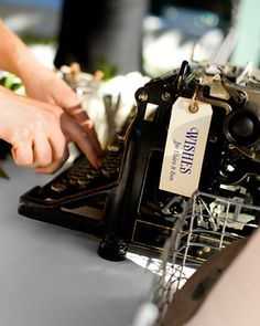 A vintage typewriter was displayed so guests could type messages to the couple