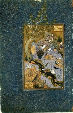 The illustration on this folio depicts a scene from a mystical poem, Mantiq al-tair (Language of the Birds), written by a twelfth-century Iranian, Farid al-Din 'Attar. The birds, which symbolize individual souls in search of the simurgh (a mystical bird representing ultimate spiritual unity), are assembled in an idyllic landscape to begin their pilgrimage under the leadership of a hoopoe (perched on a rock at center right)