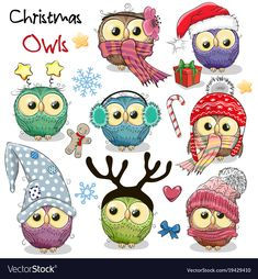 Adorable Cute Cartoon Christmas Owls on White Wall Art Hanging Tapestry Christmas Cartoons, Christmas Drawing, Christmas Paintings, Christmas Animals, Christmas Art, Owl Cartoon, Cute Cartoon, Cartoon Images, Cartoon Ideas