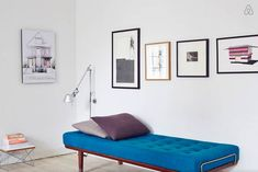 Airbnb apartment in Copenhagen - Hege in France blue trend blue daybed picture wall danish design living room