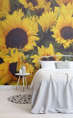 Introduce a subtle vintage aesthetic to your theme with this bespoke sunflower yellow wallpaper, an eye-catching design. Daisy Wallpaper, Sunflower Wallpaper, Room Wallpaper, Sunflower Room, Sunflower Design, Yellow Sunflower, Vintage Floral Wallpapers, Inspirational Wallpapers, Aesthetic Room Decor