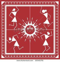 Indian tribal Painting. Warli Painting - stock photo