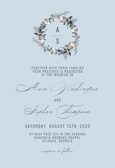Black White Wreath - Wedding Invitation #invitations #printable #diy #template #wedding