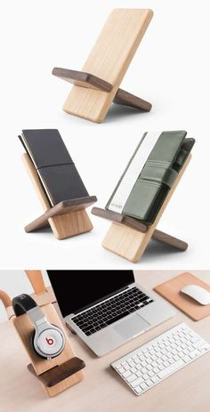 Portable Wooden Tablet Stand Mobile Phone Holder Headphone Hanger is part of Wood phone holder -