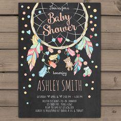 Dreamcatcher Baby Shower Invitation Baby Shower invitation Dream catcher Tribal…