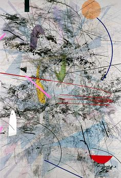 """Julie Mehretu - """"Easy Dark,"""" 2007; Ink and acrylic on canvas, 108 x 72 inches; """"A mark that leans forward has a very specific kind of gesture to it and you can assign a particular social meaning to that. So in my mind these marks operate with that type of social gesture."""" -Julie Mehretu"""